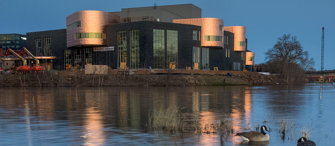 Exterior photos of the Pablo Center for the Arts near Phoenix Park.