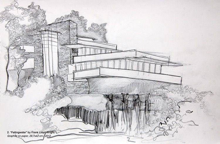 Sketch of Fallingwater by Frank Lloyd Wright